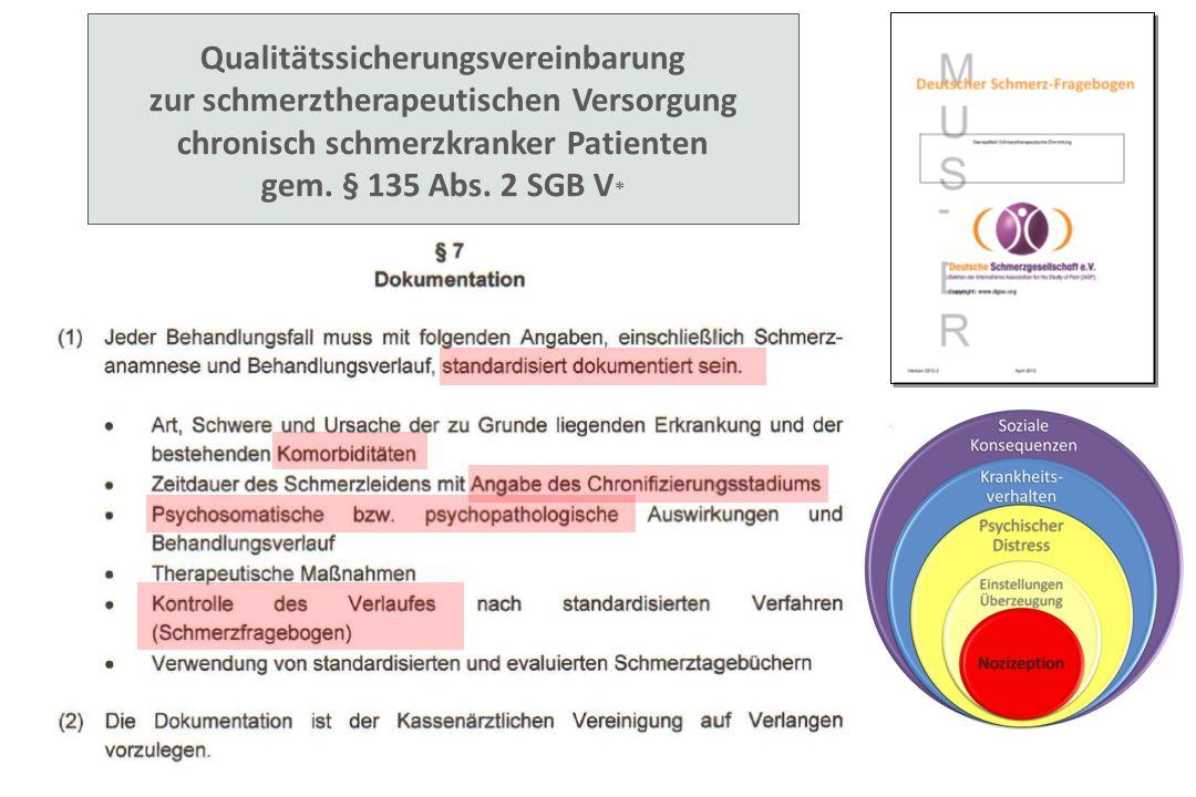 Qualitätssicherungsvereinbarung zur schmerztherapeutischen Versorgung chronisch schmerzkranker Patienten gem. § 135 Abs. 2 SGB V *