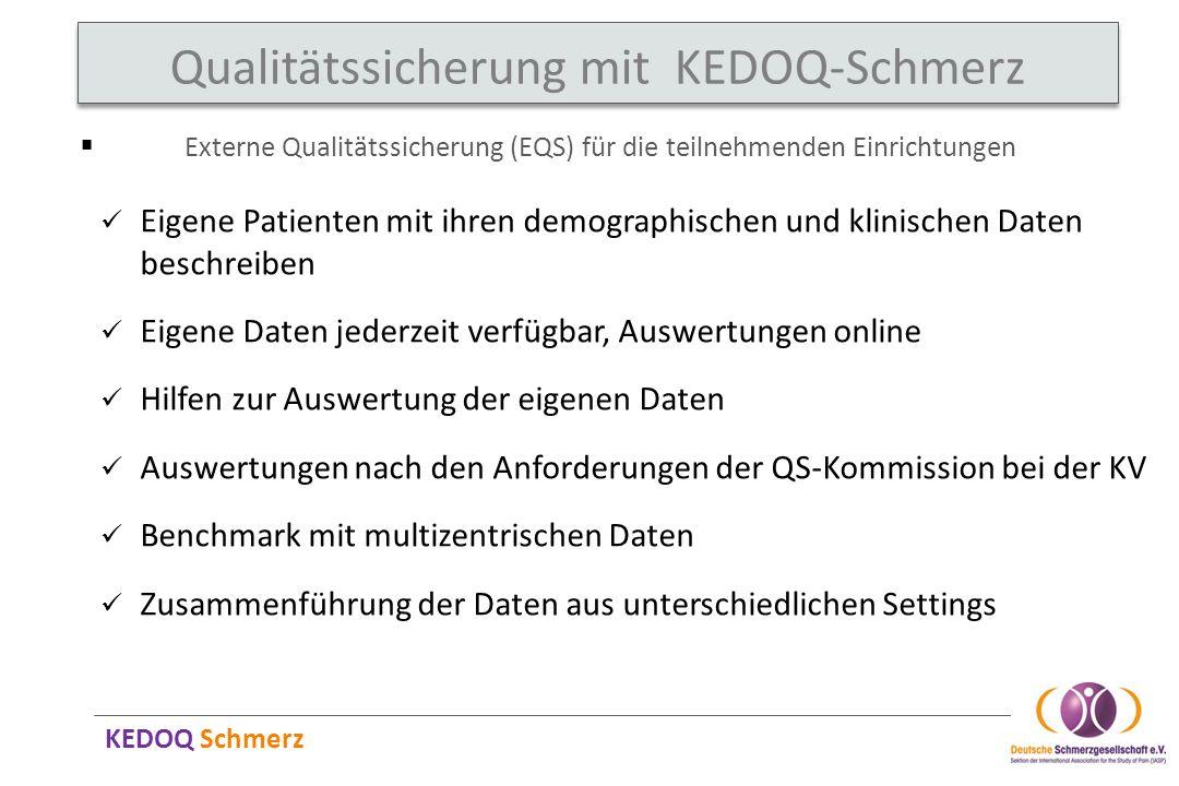 KEDOQ Schmerz Qualitätssicherung mit KEDOQ-Schmerz Externe Qualitätssicherung (EQS) für die teilnehmenden Einrichtungen Eigene Patienten mit ihren dem