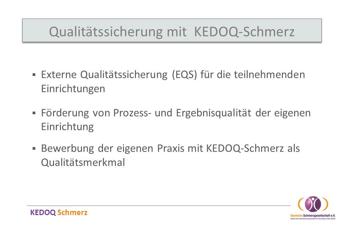KEDOQ Schmerz Qualitätssicherung mit KEDOQ-Schmerz Externe Qualitätssicherung (EQS) für die teilnehmenden Einrichtungen Förderung von Prozess- und Erg