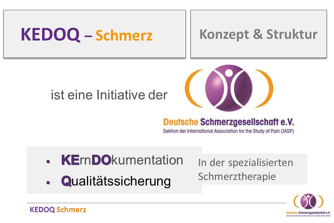 KEDOQ Schmerz KEDOQ – Schmerz ist eine Initiative der In der spezialisierten Schmerztherapie Konzept & Struktur