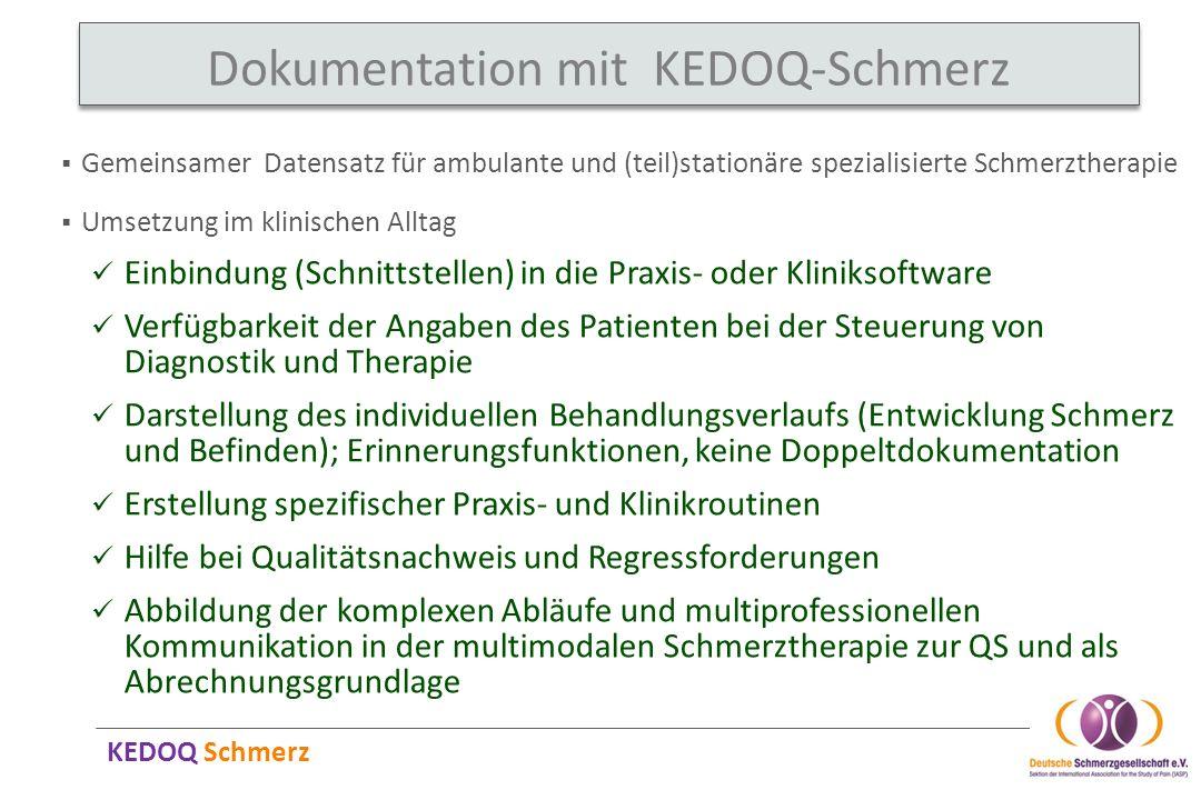 KEDOQ Schmerz Gemeinsamer Datensatz für ambulante und (teil)stationäre spezialisierte Schmerztherapie Dokumentation mit KEDOQ-Schmerz Umsetzung im kli