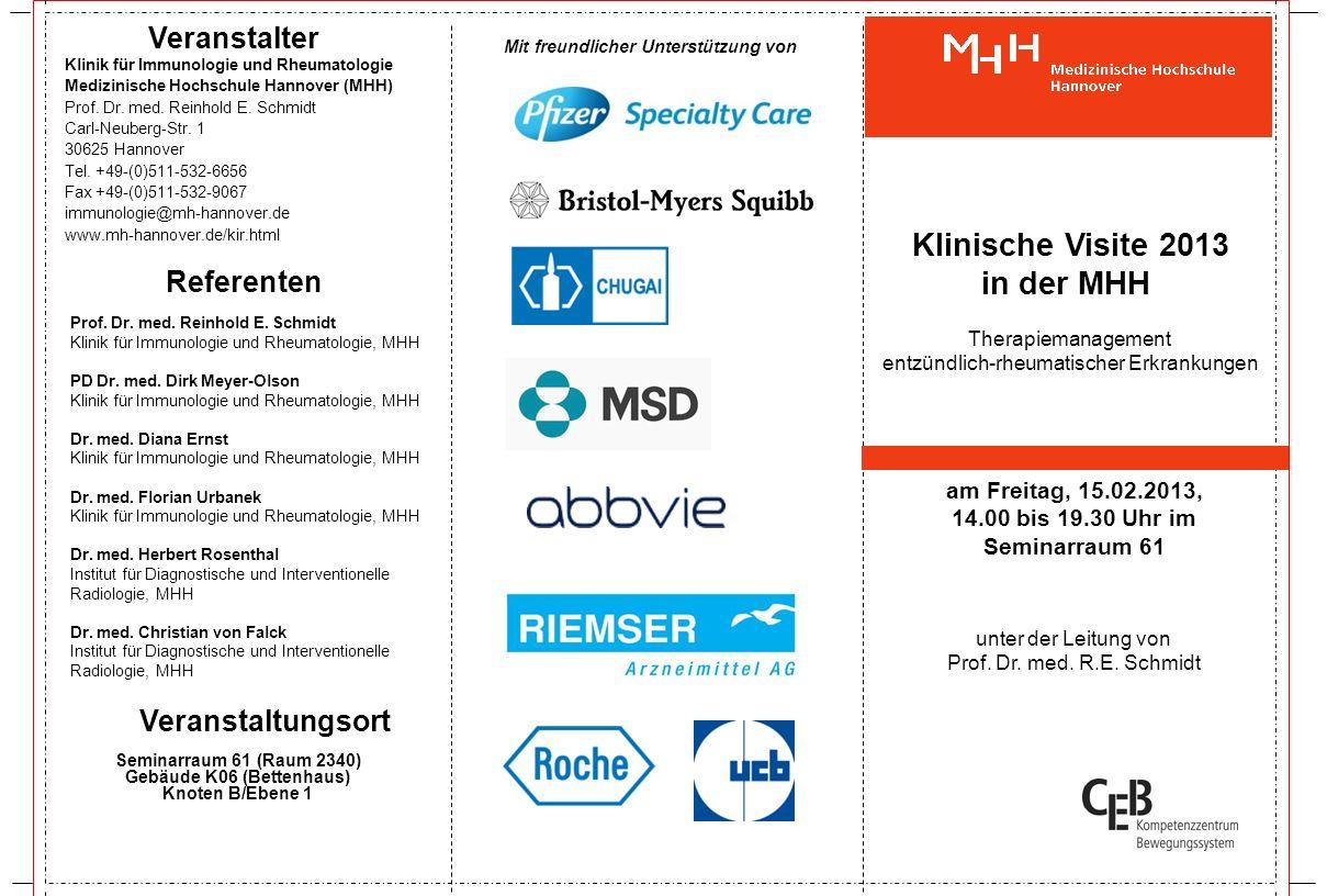 14:00 Uhr bis 14:15 Uhr: Begrüßung der Teilnehmer/Vorstellung der Klinik und der Referenten/Gruppeneinteilung Prof.