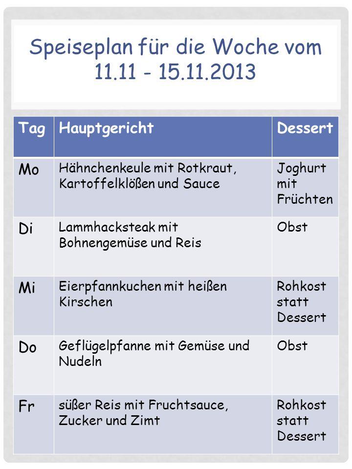 Speiseplan für die Woche vom 11.11 - 15.11.2013 TagHauptgerichtDessert Mo Hähnchenkeule mit Rotkraut, Kartoffelklößen und Sauce Joghurt mit Früchten D
