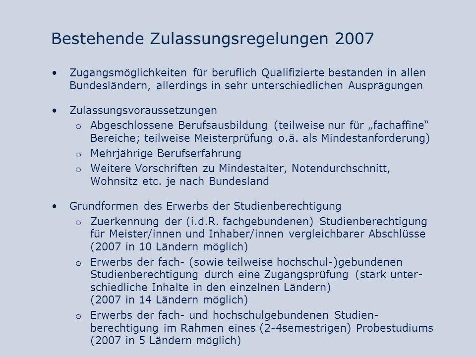 Ziel der weitergehenden Öffnung Erklärung der Regierungschefs von Bund und Ländern (Dresden, Oktober 2008): Die Länder werden bis zum Jahr 2010 länderübergreifend die Voraussetzungen zu formulieren, unter denen der allgemeine Hochschulzugang für Meister […] und Inhaber gleich gestellter Abschlüsse ermöglicht wird und der fachgebundene Zugang zur Hochschule für beruflich Qualifizierte nach erfolgreichem Berufsabschluss und dreijähriger Berufstätigkeit eröffnet wird.