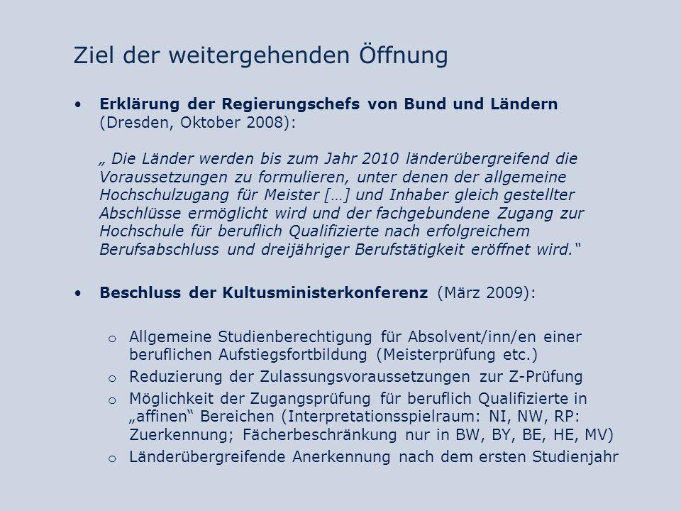 Formen des Dritten Bildungsweges Formen des Hochschulzugangs für beruflich Qualifizierte nach Bundesland Bundesland Zuerkennung allgemeine HZB (Meister etc.) Zuerkennung fachgeb.