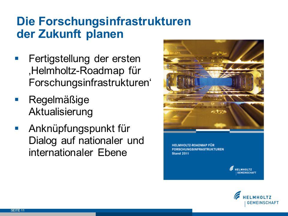Die Forschungsinfrastrukturen der Zukunft planen Fertigstellung der ersten Helmholtz-Roadmap für Forschungsinfrastrukturen Regelmäßige Aktualisierung