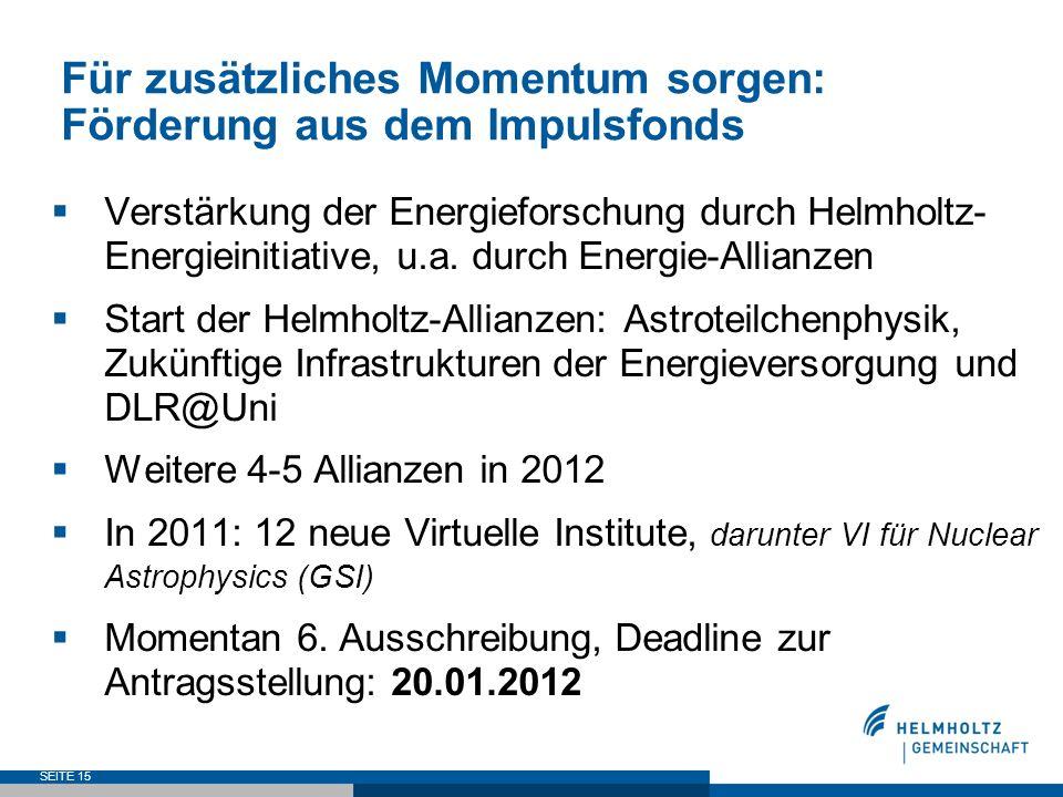 Für zusätzliches Momentum sorgen: Förderung aus dem Impulsfonds Verstärkung der Energieforschung durch Helmholtz- Energieinitiative, u.a. durch Energi