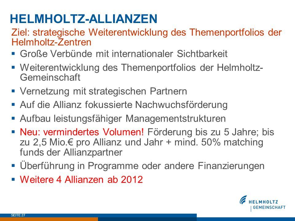 SEITE 27 HELMHOLTZ-ALLIANZEN Ziel: strategische Weiterentwicklung des Themenportfolios der Helmholtz-Zentren Große Verbünde mit internationaler Sichtb