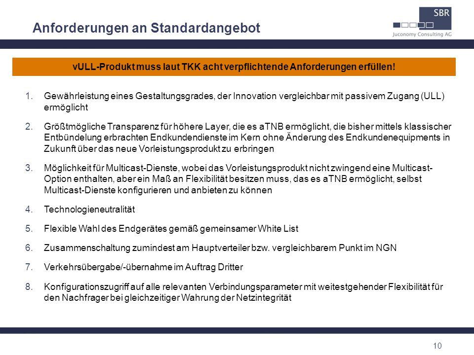 10 Anforderungen an Standardangebot 1.Gewährleistung eines Gestaltungsgrades, der Innovation vergleichbar mit passivem Zugang (ULL) ermöglicht 2.Größt