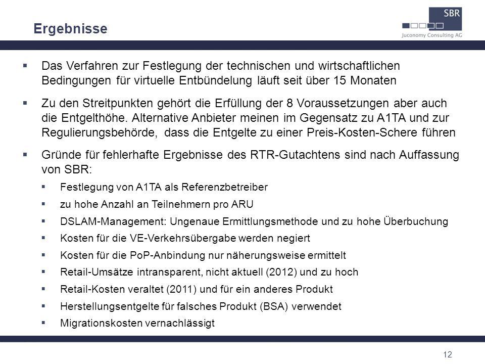 12 Ergebnisse Das Verfahren zur Festlegung der technischen und wirtschaftlichen Bedingungen für virtuelle Entbündelung läuft seit über 15 Monaten Zu d