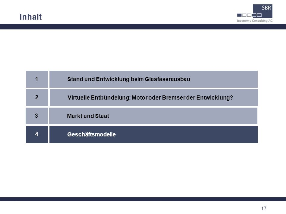 17 Inhalt Virtuelle Entbündelung: Motor oder Bremser der Entwicklung? 2 Stand und Entwicklung beim Glasfaserausbau 1 Geschäftsmodelle 4 Markt und Staa