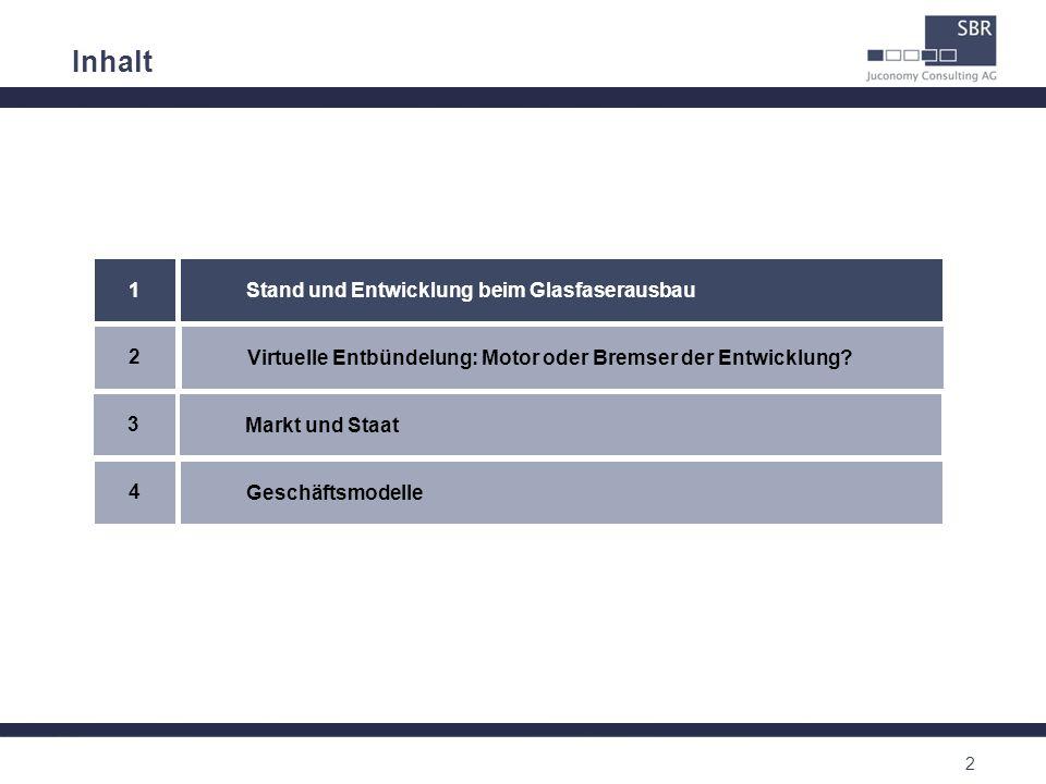 2 Inhalt Virtuelle Entbündelung: Motor oder Bremser der Entwicklung? 2 Stand und Entwicklung beim Glasfaserausbau 1 Geschäftsmodelle 4 Markt und Staat