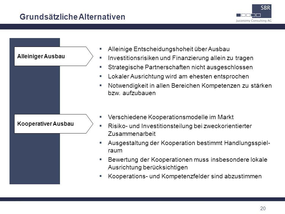 20 Grundsätzliche Alternativen Alleiniger Ausbau Alleinige Entscheidungshoheit über Ausbau Investitionsrisiken und Finanzierung allein zu tragen Strat