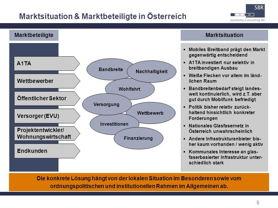 5 Marktsituation & Marktbeteiligte in Österreich Öffentlicher Sektor Versorger (EVU) Projektentwickler/ Wohnungswirtschaft Endkunden A1TA Wettbewerber