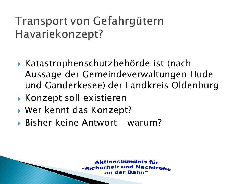 Katastrophenschutzbehörde ist (nach Aussage der Gemeindeverwaltungen Hude und Ganderkesee) der Landkreis Oldenburg Konzept soll existieren Wer kennt d
