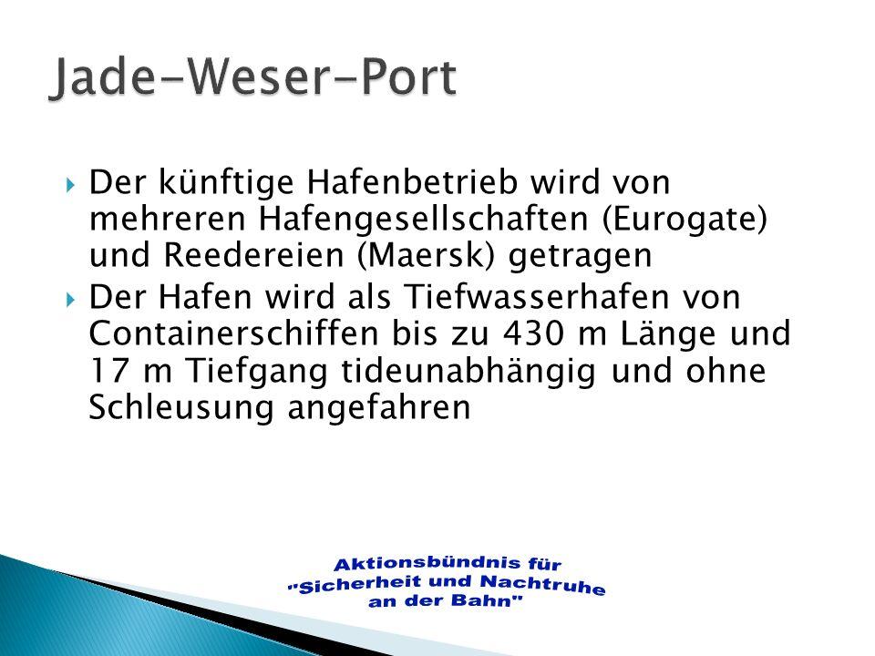 Der künftige Hafenbetrieb wird von mehreren Hafengesellschaften (Eurogate) und Reedereien (Maersk) getragen Der Hafen wird als Tiefwasserhafen von Con