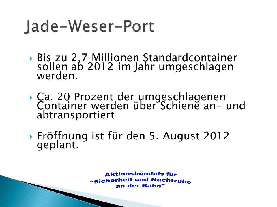 Bis zu 2,7 Millionen Standardcontainer sollen ab 2012 im Jahr umgeschlagen werden. Ca. 20 Prozent der umgeschlagenen Container werden über Schiene an-