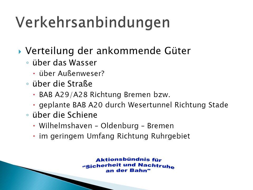 Verteilung der ankommende Güter über das Wasser über Außenweser? über die Straße BAB A29/A28 Richtung Bremen bzw. geplante BAB A20 durch Wesertunnel R