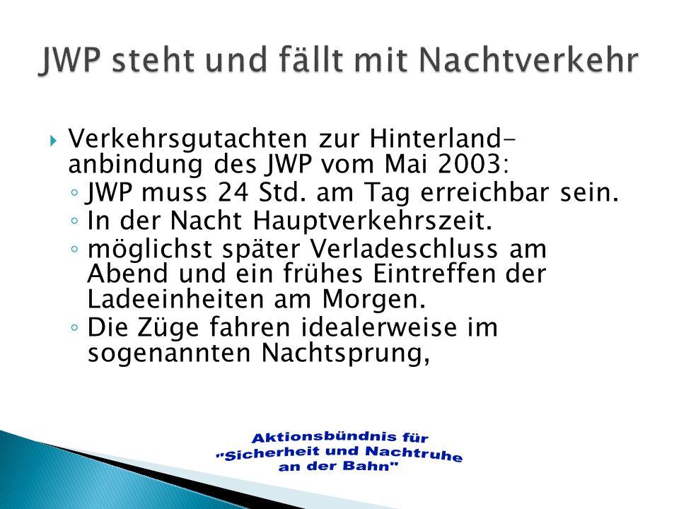 Verkehrsgutachten zur Hinterland- anbindung des JWP vom Mai 2003: JWP muss 24 Std. am Tag erreichbar sein. In der Nacht Hauptverkehrszeit. möglichst s