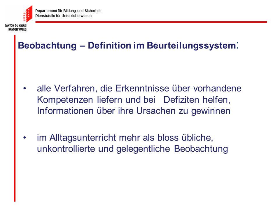 Departement für Bildung und Sicherheit Dienststelle für Unterrichtswesen Beobachtung – Definition im Beurteilungssystem : alle Verfahren, die Erkenntn
