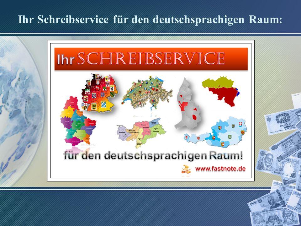 Ihr Schreibservice für den deutschsprachigen Raum: