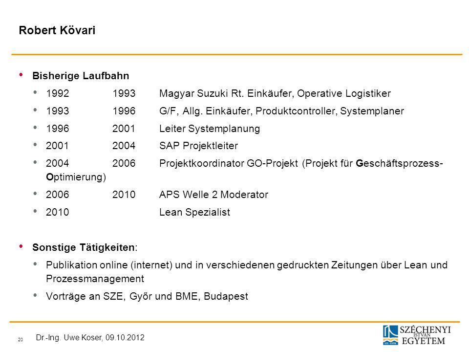 20 Dr.-Ing.Uwe Koser, 09.10.2012 Robert Kövari Bisherige Laufbahn 19921993Magyar Suzuki Rt.