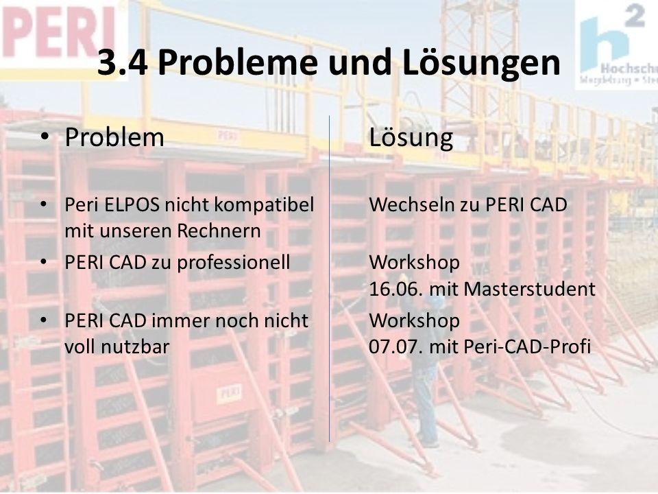 3.4 Probleme und Lösungen ProblemLösung Peri ELPOS nicht kompatibelWechseln zu PERI CAD mit unseren Rechnern PERI CAD zu professionellWorkshop 16.06.