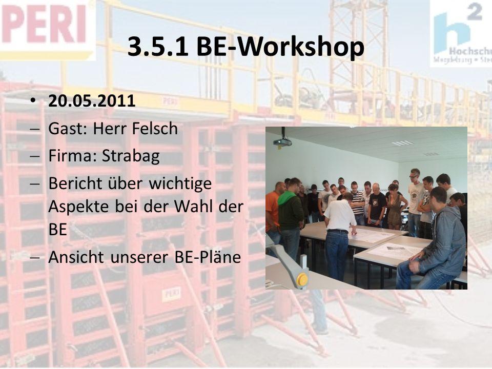 3.5.1 BE-Workshop 20.05.2011 Gast: Herr Felsch Firma: Strabag Bericht über wichtige Aspekte bei der Wahl der BE Ansicht unserer BE-Pläne