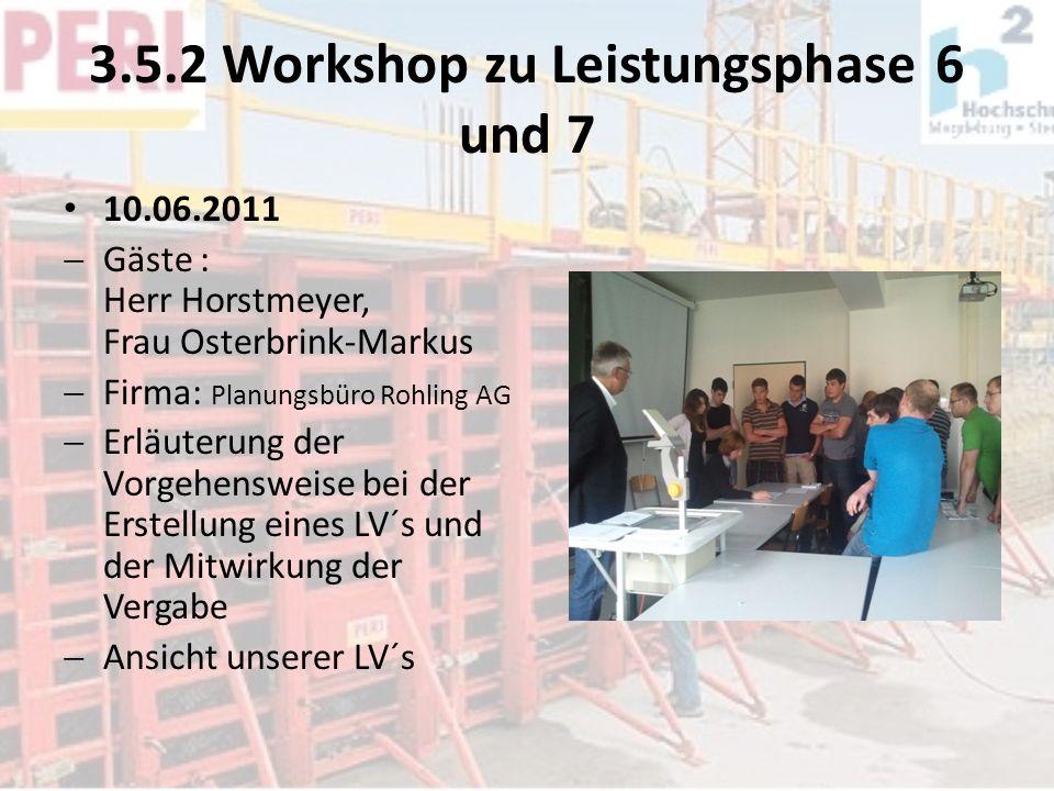 3.5.2 Workshop zu Leistungsphase 6 und 7 10.06.2011 Gäste : Herr Horstmeyer, Frau Osterbrink-Markus Firma: Planungsbüro Rohling AG Erläuterung der Vor