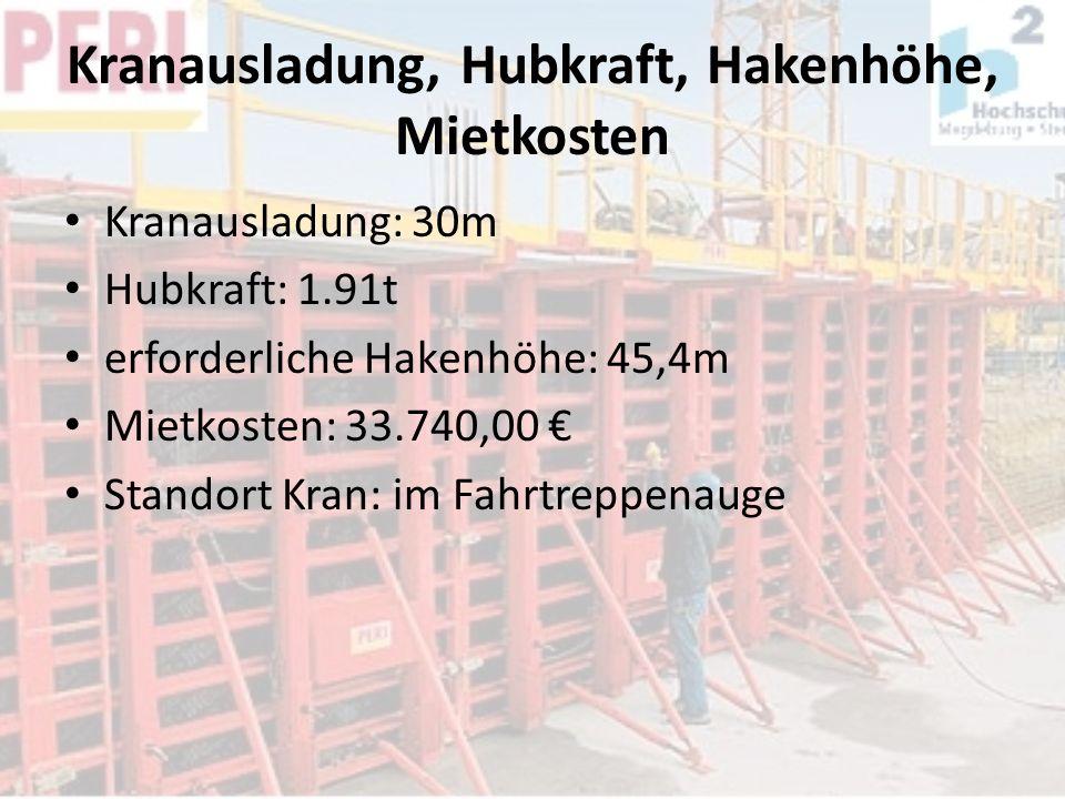 Kranausladung, Hubkraft, Hakenhöhe, Mietkosten Kranausladung: 30m Hubkraft: 1.91t erforderliche Hakenhöhe: 45,4m Mietkosten: 33.740,00 Standort Kran: