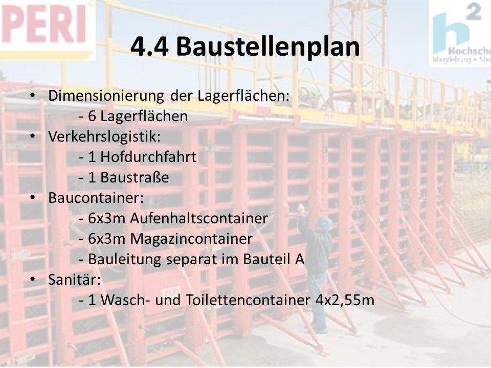 4.4 Baustellenplan Dimensionierung der Lagerflächen: - 6 Lagerflächen Verkehrslogistik: - 1 Hofdurchfahrt - 1 Baustraße Baucontainer: - 6x3m Aufenhalt