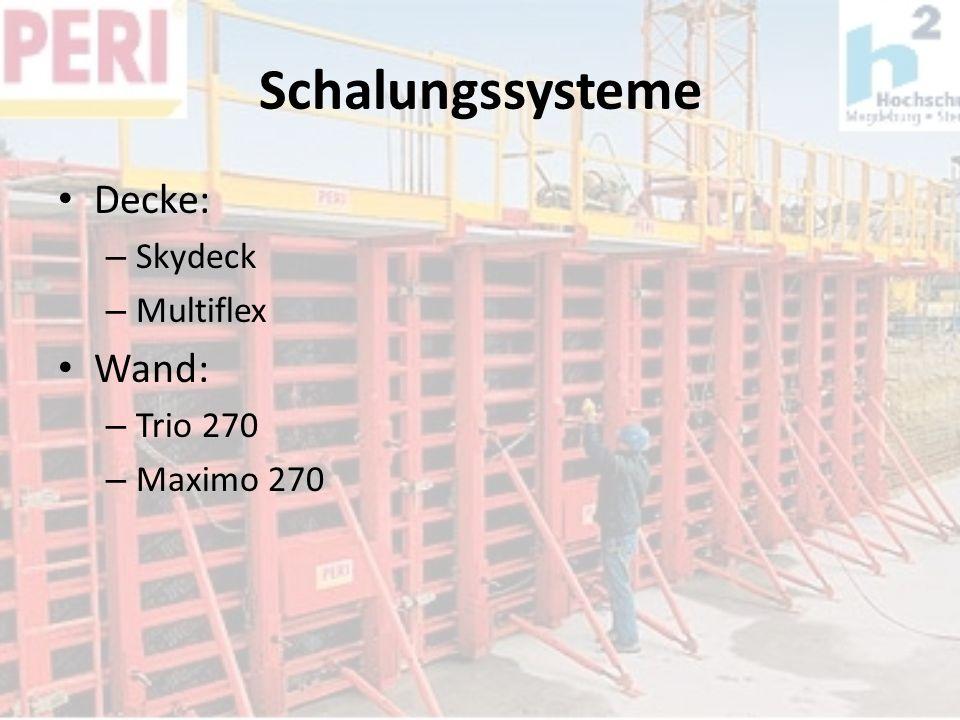 Schalungssysteme Decke: – Skydeck – Multiflex Wand: – Trio 270 – Maximo 270