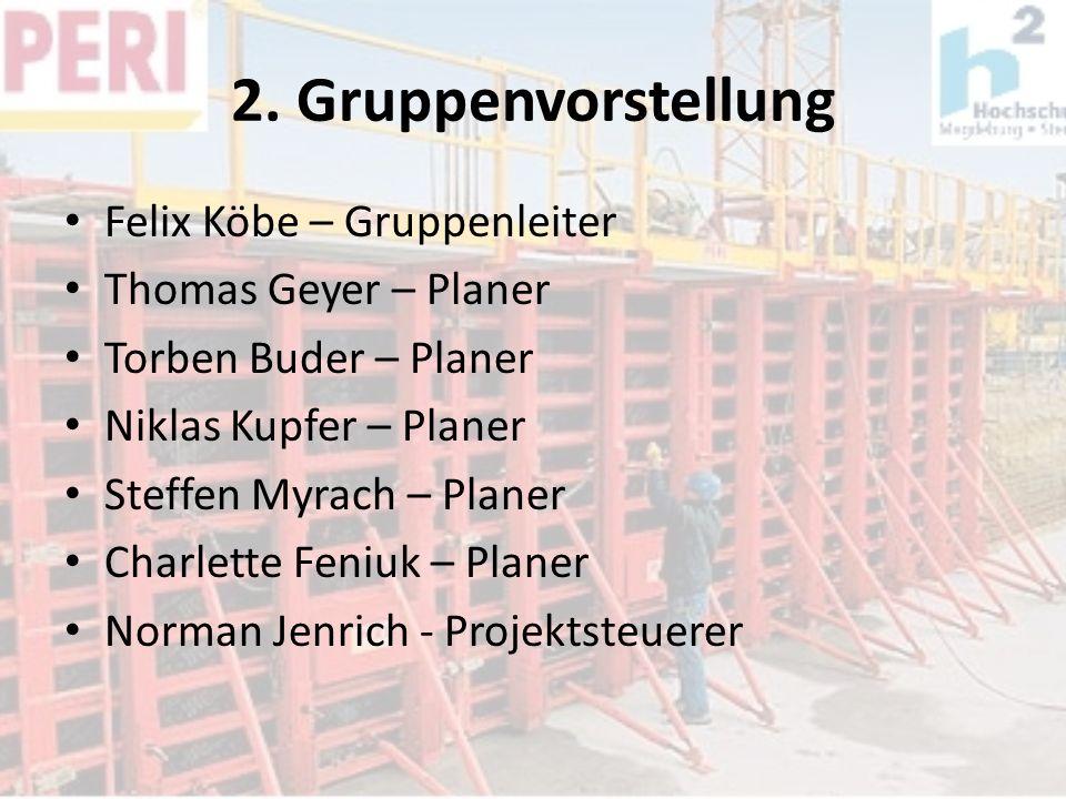 2. Gruppenvorstellung Felix Köbe – Gruppenleiter Thomas Geyer – Planer Torben Buder – Planer Niklas Kupfer – Planer Steffen Myrach – Planer Charlette