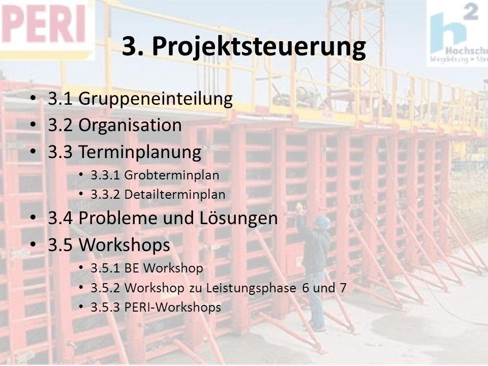 3. Projektsteuerung 3.1 Gruppeneinteilung 3.2 Organisation 3.3 Terminplanung 3.3.1 Grobterminplan 3.3.2 Detailterminplan 3.4 Probleme und Lösungen 3.5