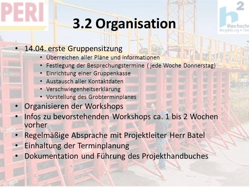 3.2 Organisation 14.04. erste Gruppensitzung Überreichen aller Pläne und Informationen Festlegung der Besprechungstermine ( jede Woche Donnerstag) Ein