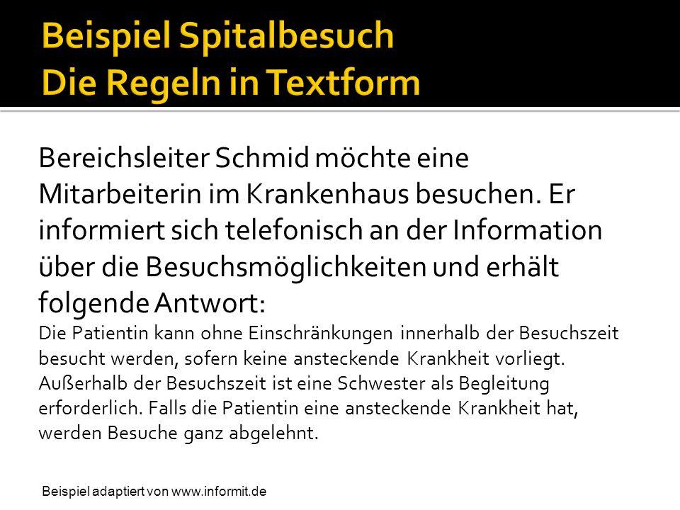 Bereichsleiter Schmid möchte eine Mitarbeiterin im Krankenhaus besuchen. Er informiert sich telefonisch an der Information über die Besuchsmöglichkeit