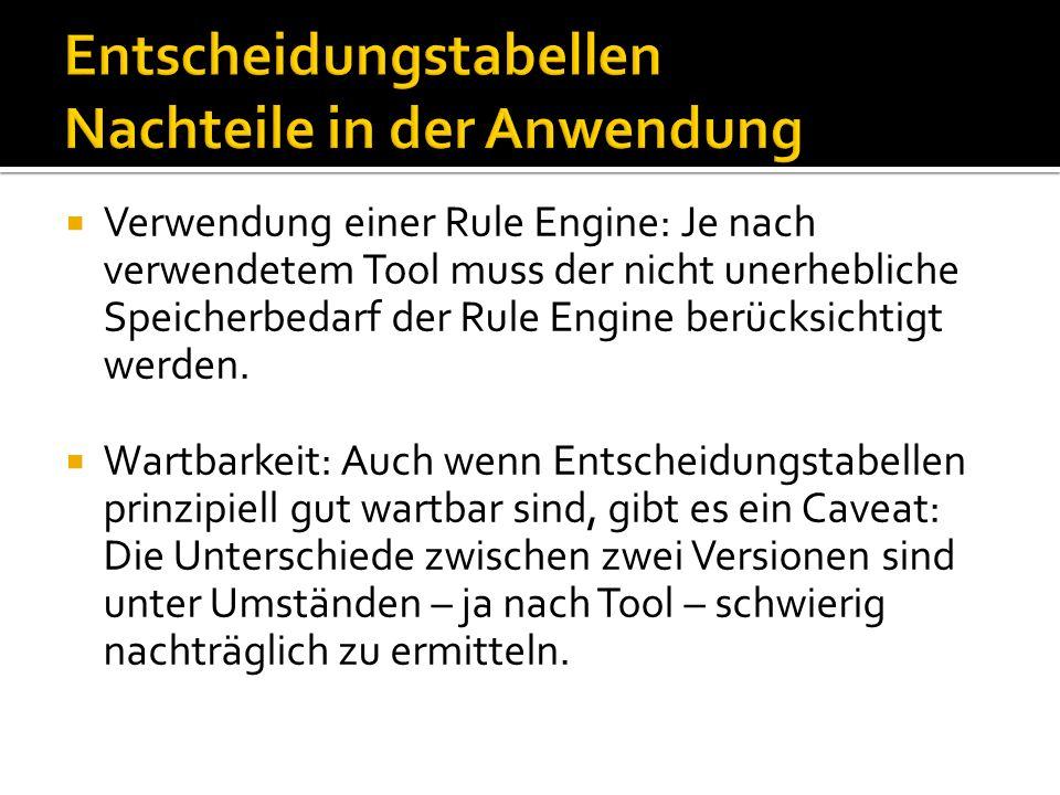 Verwendung einer Rule Engine: Je nach verwendetem Tool muss der nicht unerhebliche Speicherbedarf der Rule Engine berücksichtigt werden. Wartbarkeit:
