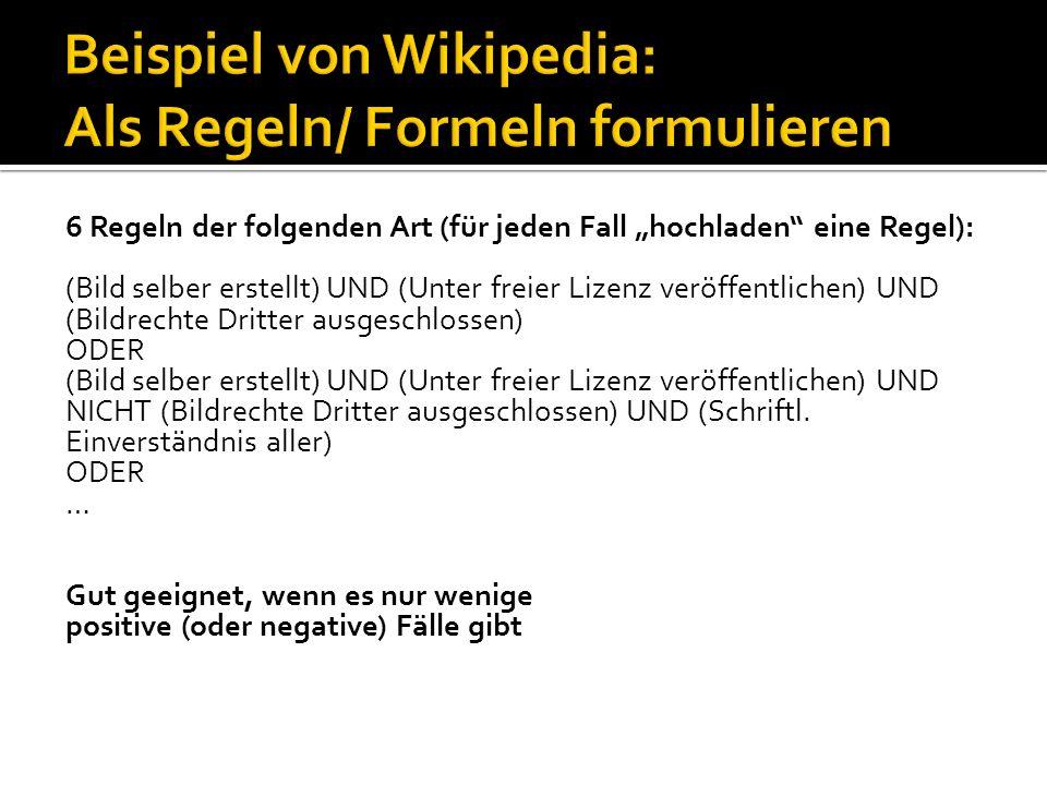 6 Regeln der folgenden Art (für jeden Fall hochladen eine Regel): (Bild selber erstellt) UND (Unter freier Lizenz veröffentlichen) UND (Bildrechte Dri