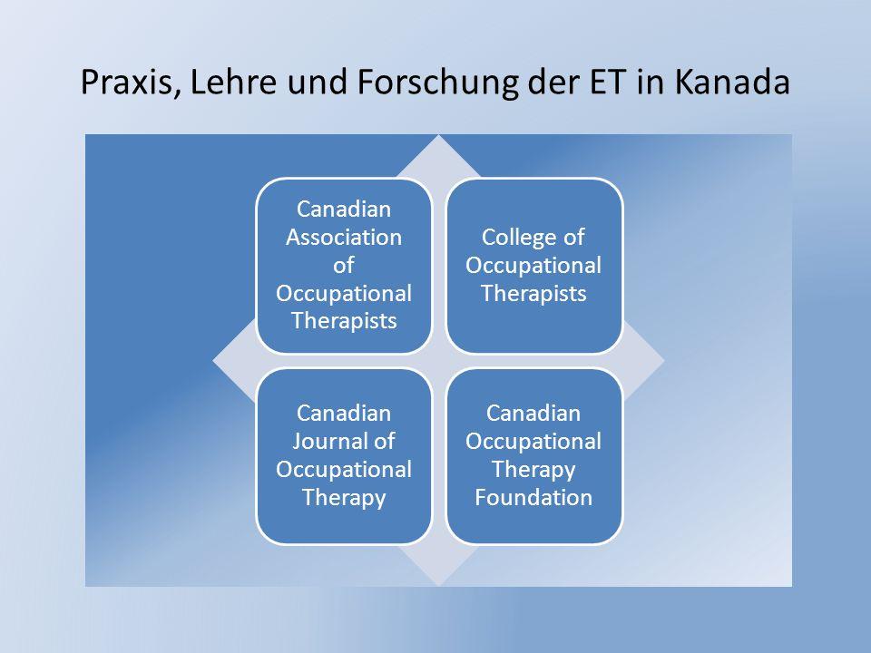 Praxis, Lehre und Forschung der ET in Kanada Canadian Association of Occupational Therapists College of Occupational Therapists Canadian Journal of Oc