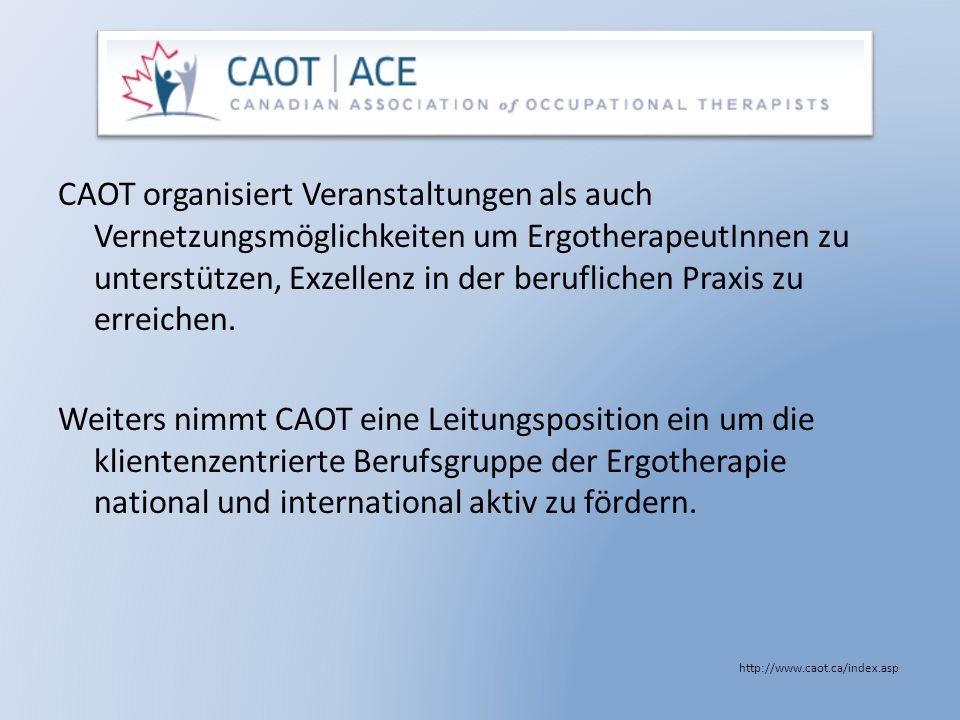 CAOT organisiert Veranstaltungen als auch Vernetzungsmöglichkeiten um ErgotherapeutInnen zu unterstützen, Exzellenz in der beruflichen Praxis zu errei
