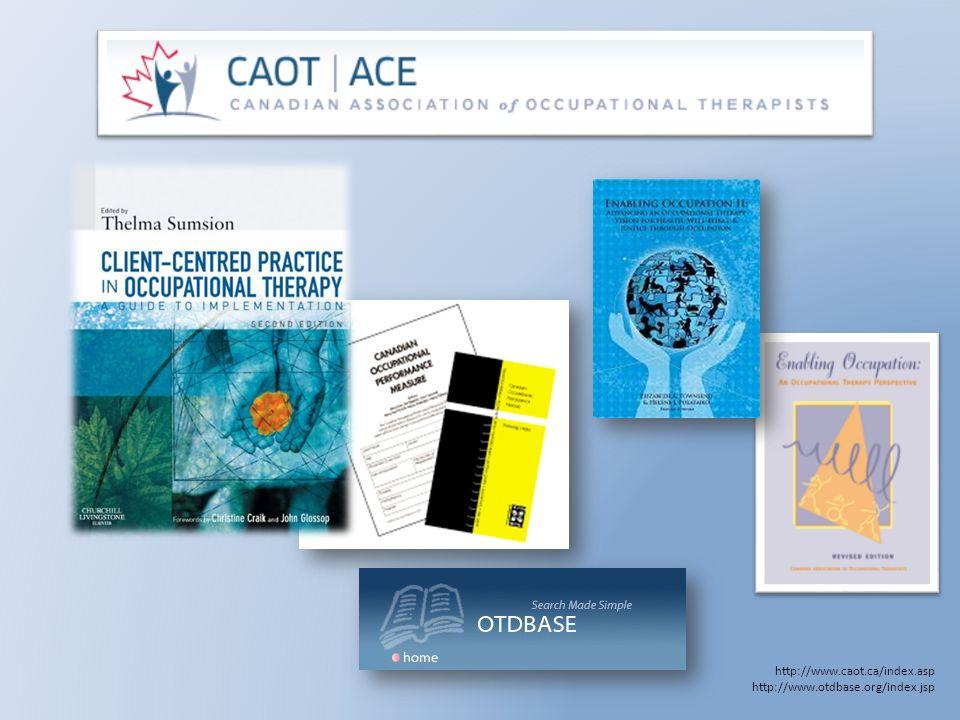 College of Occupational Therapists (COT) Association of Canadian Occupational Therapy Regulatory Organizations (ACOTRO) COT ist eine Organisation, die von der Langesregierung (provincial government) bestellt wurde, um die Praxis der ErgotherapeutInnen in der jeweiligen Provinz zu beaufsichtigen.