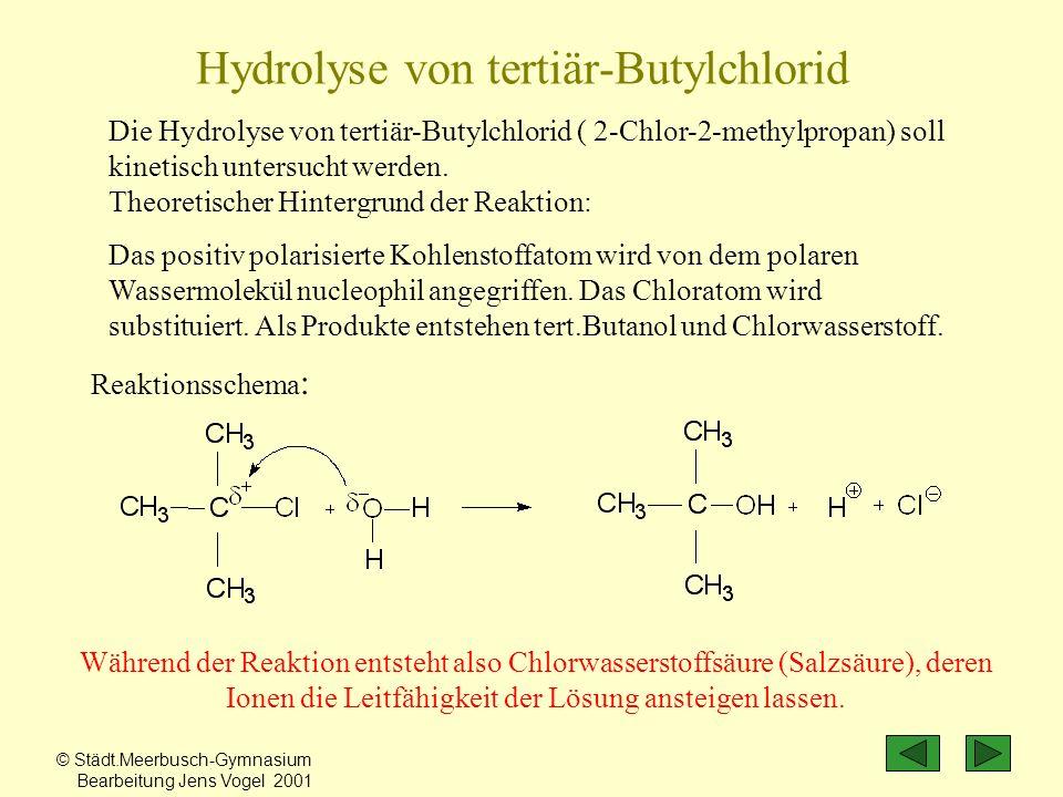 Die Hydrolyse von tertiär-Butylchlorid ( 2-Chlor-2-methylpropan) soll kinetisch untersucht werden. Theoretischer Hintergrund der Reaktion: Das positiv