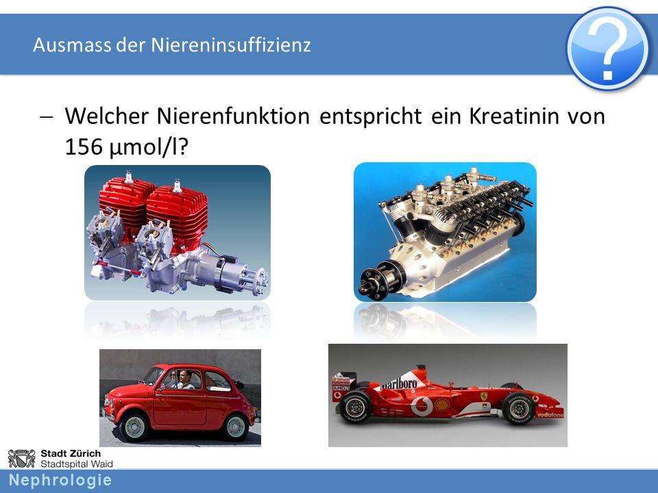 Nephrologie Ausmass der Niereninsuffizienz Welcher Nierenfunktion entspricht ein Kreatinin von 156 µmol/l?