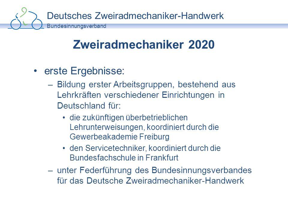 Deutsches Zweiradmechaniker-Handwerk Bundesinnungsverband Zweiradmechaniker 2020 erste Ergebnisse: –Bildung erster Arbeitsgruppen, bestehend aus Lehrk