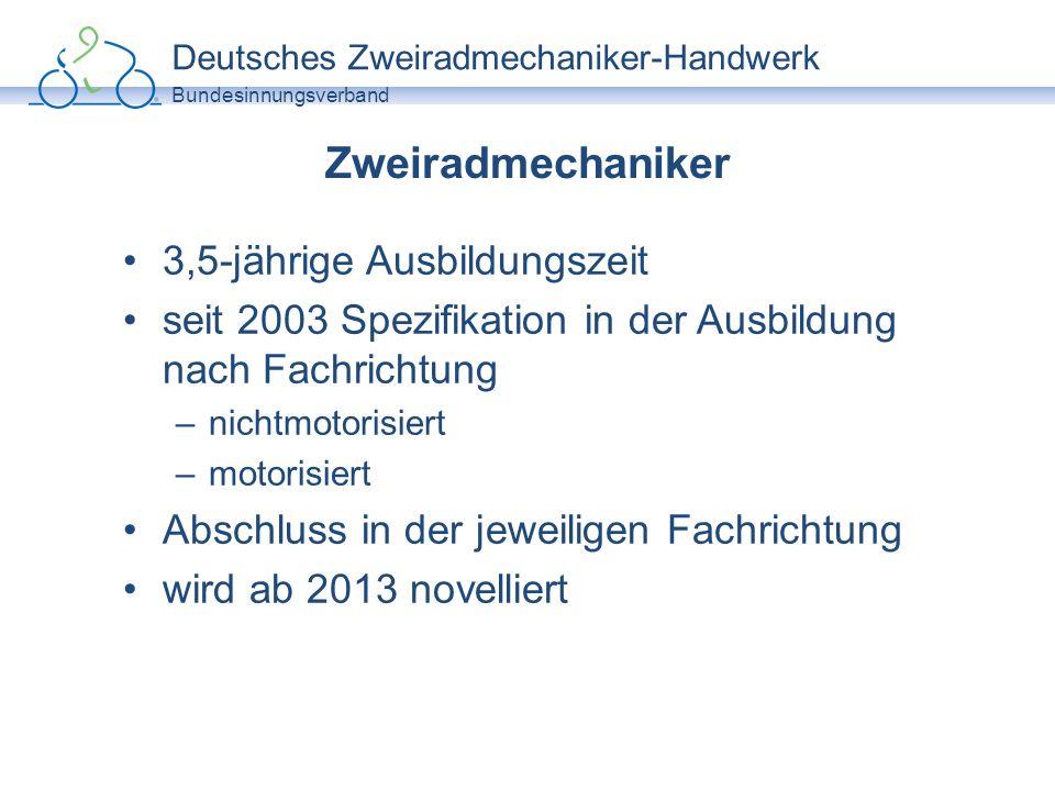 Deutsches Zweiradmechaniker-Handwerk Bundesinnungsverband Zweiradmechaniker 3,5-jährige Ausbildungszeit seit 2003 Spezifikation in der Ausbildung nach