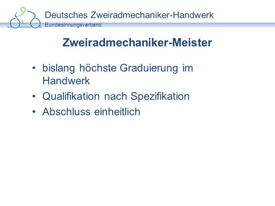 Deutsches Zweiradmechaniker-Handwerk Bundesinnungsverband Zweiradmechaniker-Meister bislang höchste Graduierung im Handwerk Qualifikation nach Spezifi