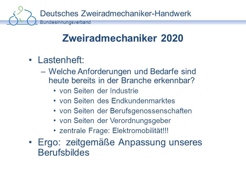 Deutsches Zweiradmechaniker-Handwerk Bundesinnungsverband Zweiradmechaniker 2020 Lastenheft: –Welche Anforderungen und Bedarfe sind heute bereits in d