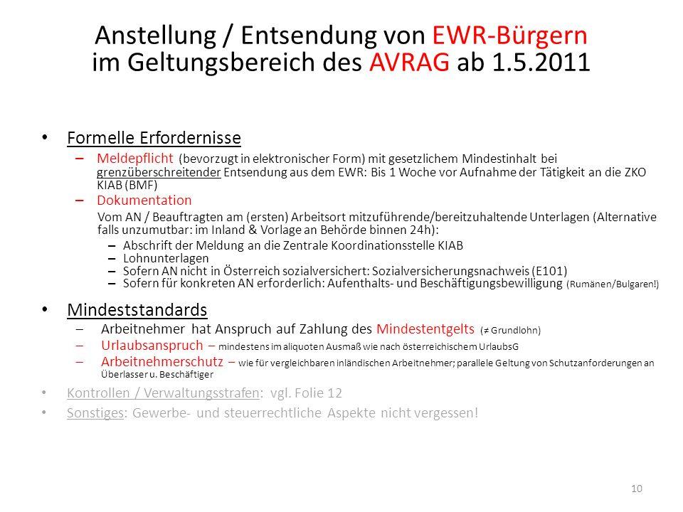 Anstellung / Entsendung von EWR-Bürgern im Geltungsbereich des AVRAG ab 1.5.2011 10 Formelle Erfordernisse – Meldepflicht (bevorzugt in elektronischer