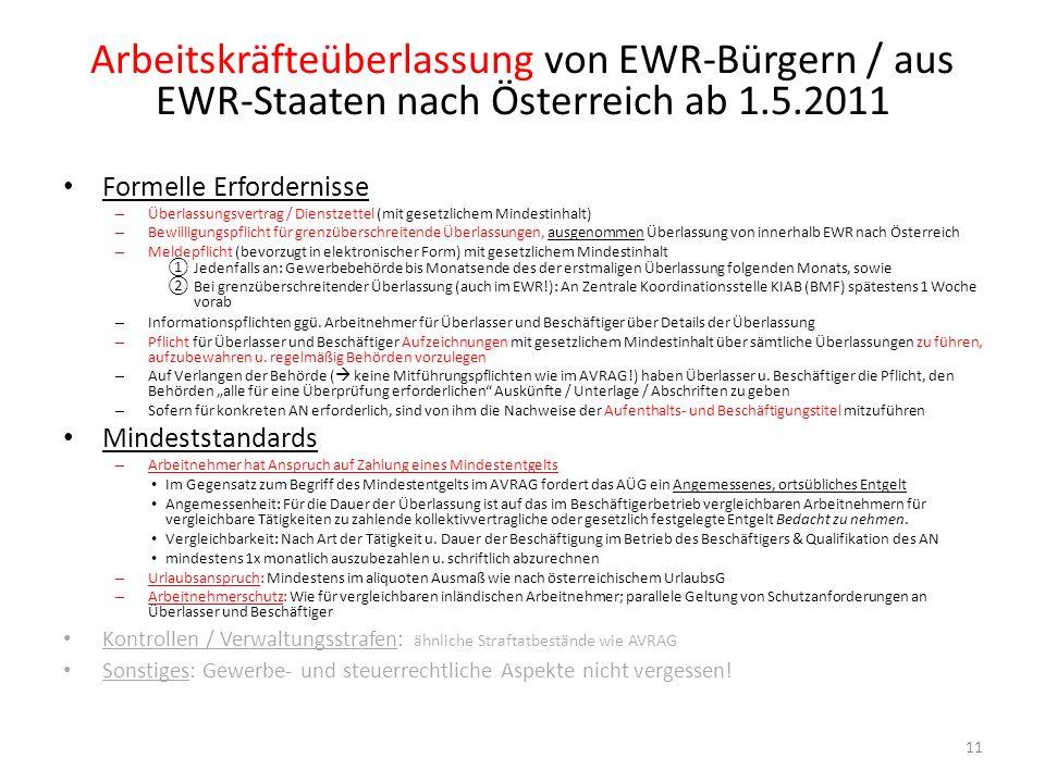 Arbeitskräfteüberlassung von EWR-Bürgern / aus EWR-Staaten nach Österreich ab 1.5.2011 11 Formelle Erfordernisse – Überlassungsvertrag / Dienstzettel