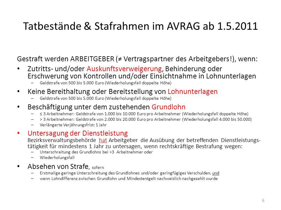 Tatbestände & Stafrahmen im AVRAG ab 1.5.2011 Gestraft werden ARBEITGEBER ( Vertragspartner des Arbeitgebers!), wenn: Zutritts- und/oder Auskunftsverw